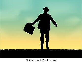businessman., ikona, człowiek, sylwetka, conceptual., elegancki