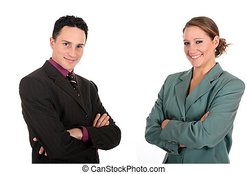 businesspeople, uśmiechanie się