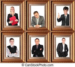 bussinessmen, handlowy, themed, pół-długości, collage, portrety, pomyślny, sześć, ułożony