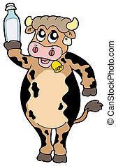 butelka, mleczna krowa, dzierżawa, rysunek