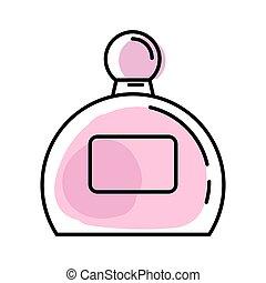 butelka, perfumy, styl, modeluje, kreska, różowy, abstrakcyjny