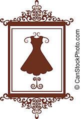 butik, fason, strój, retro, znak