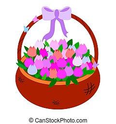butterflies., shades., karcięta., różowy, oświatowy, purpurowy, tulipany, 8, brązowy, marzec, barwny, obiekt, ilustracja, niemowlę, dzień, karta, gratulacje, matki, łuk, wektor, wiklinowy kosz, albo
