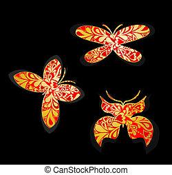 butterflies., wektor, komplet, złoty