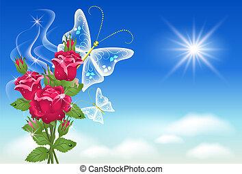 butterfly., niebo, róże
