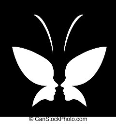 butterfly-, twarz, logo, dama