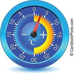 button., wektor, termometr