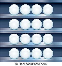 buttons., półka, wizerunek, metal, szkło, wektor, opróżniać