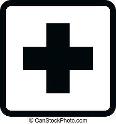 bw, ikony, -, medyczny