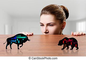 byk, sylwetka, spojrzenia, handlowy, czarnoskóry, icon., finansowy, niedźwiedź, kobieta