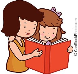 córka, ilustracja, wektor, book., macierz, czytanie