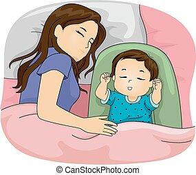 córka, mamusia, spanie