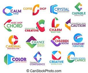 c, handlowy, identyczność, ikony, litera, zbiorowy