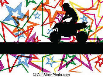 cała gwiazda, motorower, barwny, teren, ilustracja, wektor, tło, pojazd, quad, kreska, jeździec
