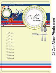 (cafe), menu., vect, francuski, restauracja