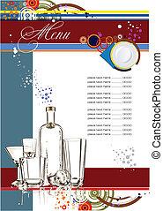 (cafe), wektor, menu., ilustracja, restauracja