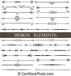 calligraphic, elementy, strona, dekoracje, komplet, wektor, projektować