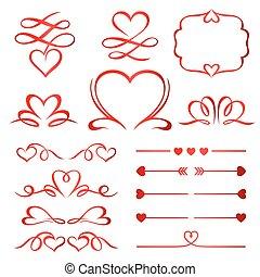 calligraphic, elementy, strzały, dzielący, komplet, dzień, czerwony, valentine
