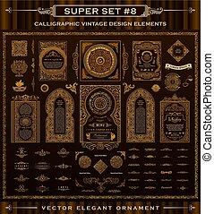 calligraphic, wektor, projektować, rocznik wina, barok, ikony, set., elements.
