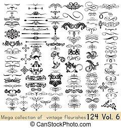 calligraphic, wektor, zbiór, elementy, projektować, ozdoby, twój, strona