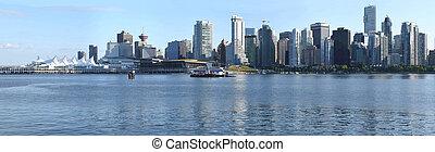 canada., miejsce, bc, sylwetka na tle nieba, vancouver, kanada, &, panorama