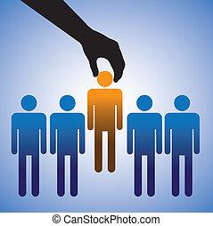 candidate., zrobienie, wybór, praca, ilustracja, najlepszy, widać, osoba, zręczności, graficzny, dobry, dużo, pojęcie, kandydaci, towarzystwo, dzierżawiąc