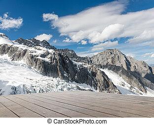 capped, śnieg, góry
