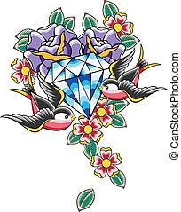 capstrzyk, diament, ptak, kwiat