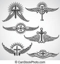capstrzyk, elementy, rocznik wina, krzyż, wektor, skrzydełka