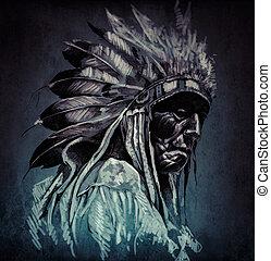 capstrzyk, głowa, backgroun, na, ciemny, amerykański indianin, portret, sztuka