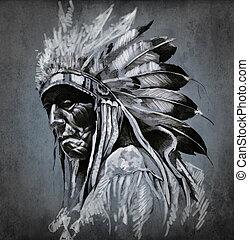 capstrzyk, głowa, na, ciemny, amerykański indianin, tło, portret, sztuka
