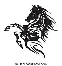 capstrzyk, koń, emblemat, symbol, odizolowany, albo, projektować, logo, biały, template.