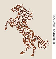 capstrzyk, koń, wektor, projektować