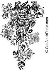 capstrzyk, paisley, czaszka