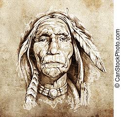 capstrzyk, rys, głowa, amerykański indianin, portret, sztuka