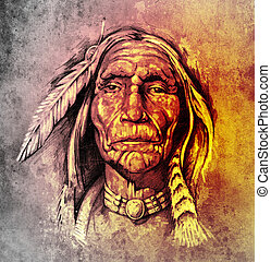 capstrzyk, rys, indianin, barwny, na drugą formować główki, amerykanka, papier, portret, sztuka