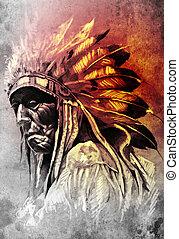 capstrzyk, rys, indianin, głowa, sztuka