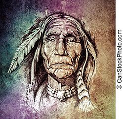capstrzyk, rys, na drugą formować główki, colo, amerykański indianin, portret, sztuka