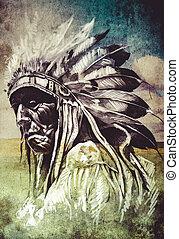 capstrzyk, rys, na drugą formować główki, indianin, artystyczny, tło, sztuka
