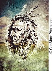 capstrzyk, rys, na drugą formować główki, indianin, tło, cropfield, sztuka