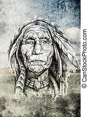 capstrzyk, rys, na drugą formować główki, pole, indianin, tło, sztuka