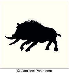 capstrzyk, sylwetka, dziki, pasja, świnia, tło., czarnoskóry, knur, moster, biały