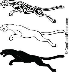 capstrzyk, sylwetka, sztuka, jaguar