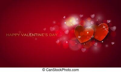 card., list miłosny, powitanie, serca, shinning, dzień, szczęśliwy