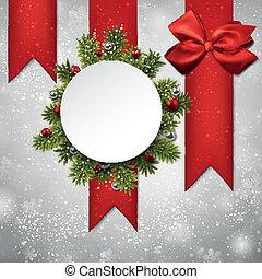 card., papier, boże narodzenie, okrągły, biały