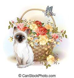 card., roses., szczęśliwy, motyl, kociątko, syjamski, kosz, birday