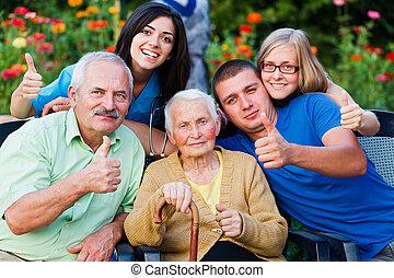 carer, do góry, rodzina, kciuki