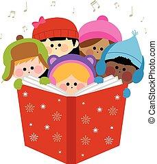 carols., grupa, ilustracja, dzieci, wektor, śpiew, boże narodzenie