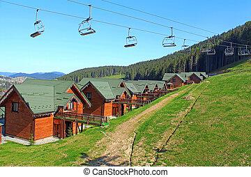 carpathians, ukrainiec, góra, bukovel, uciekanie się