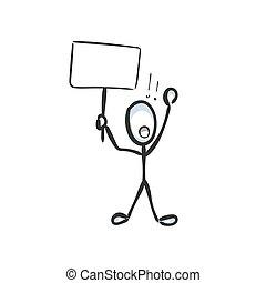 cartoon., banner., stickman, drawn., prostest, ręka, krzyk, rys, ilustracja, bojkot, doodle, wektor, demand., graficzny, człowiek